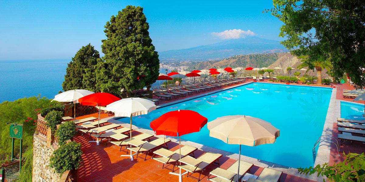 Clifftop Swimming Pool in Taormina, Hotel Villa Diodoro, Prestigious Venues