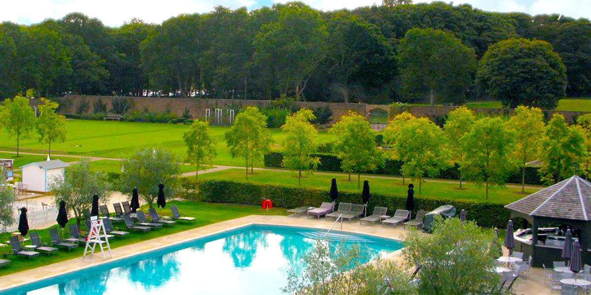 Swimming Pool Aerial View, The Walled Garden, The Grove, Prestigious Venues