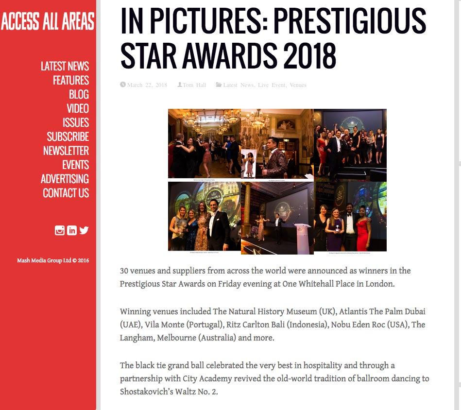 Access All Areas, Prestigious Star Awards 2017 2018
