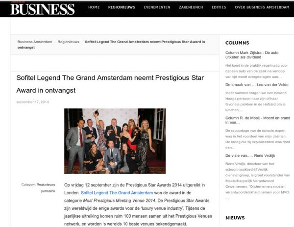 Amsterdam Business, Prestigious Star Awards 2014, Press Coverage