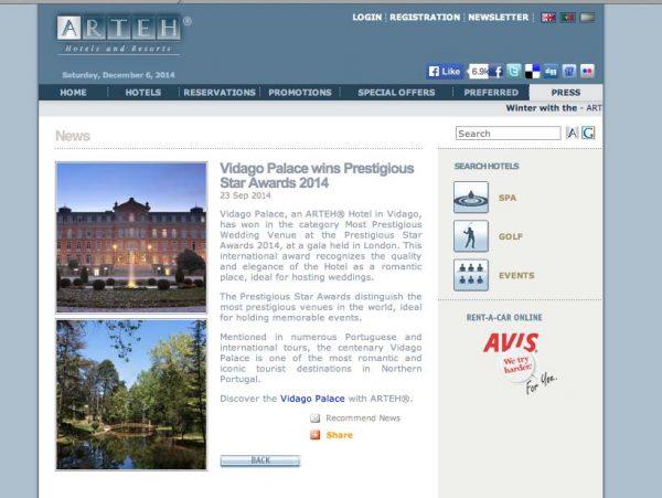 Arteh Hotel & Resorts, Prestigious Star Awards 2014, Press Coverage