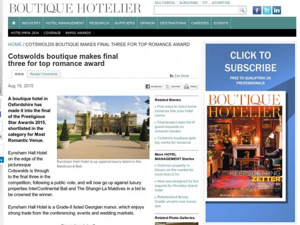 Boutique Hotelier, Prestigious Star Awards 2015, Press Coverage