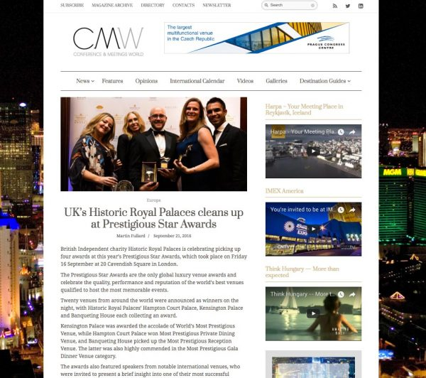 CMW, UK's Historic Royal Palaces cleans up at Prestigious Star Awards, Press Coverage