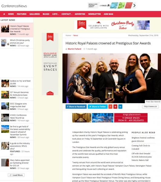 Conference News, Historic Royal Palaces crowned at Prestigious Star Awards, Press Coverage
