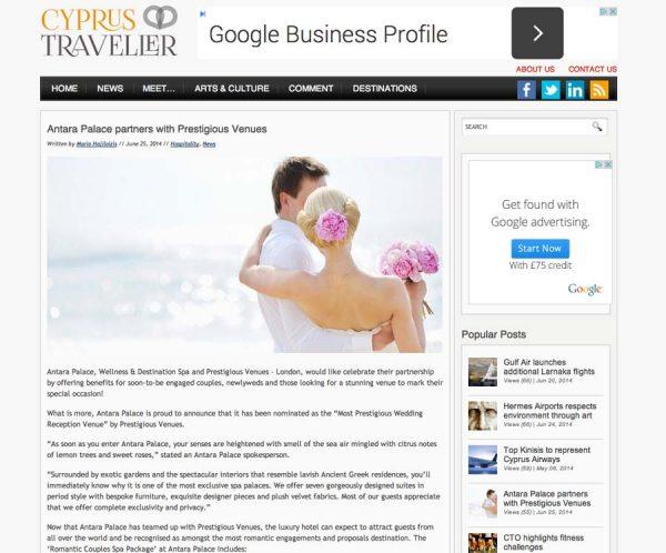 Cyprus Traveller, Prestigious Star Awards 2014, Press Coverage