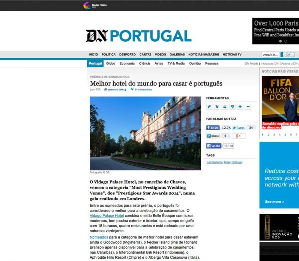 DN Portugal, Prestigious Star Awards 2014, Press Coverage