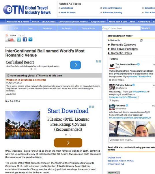 ETN Global Travel Industry News, Prestigious Star Awards 2014, Press Coverage