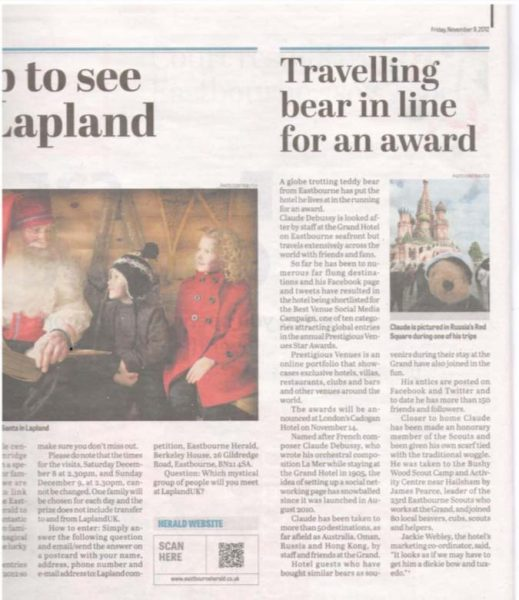 Eastbourne Herald, Bear, Prestigious Star Awards 2012, Press Coverage