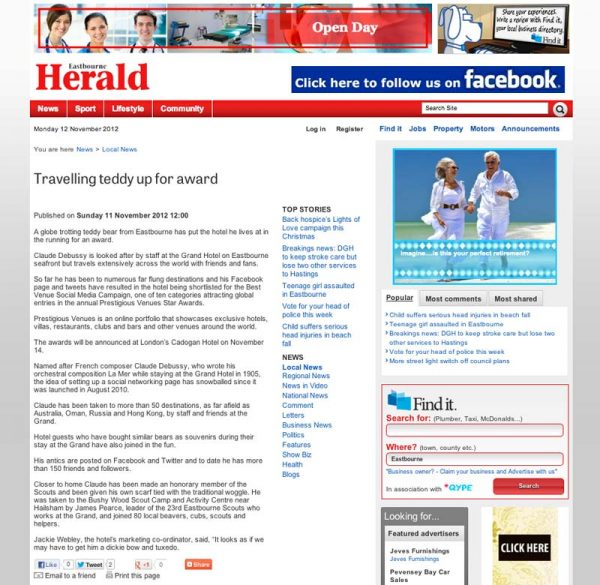 Eastbourne Herald, Prestigious Star Awards 2012, Press Coverage