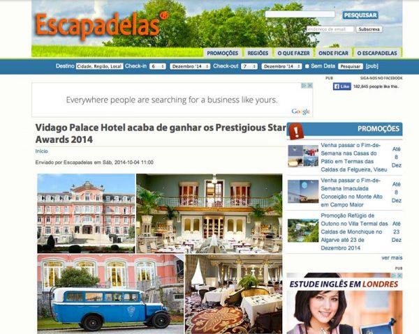 Escapadelas, Prestigious Star Awards 2014, Press Coverage