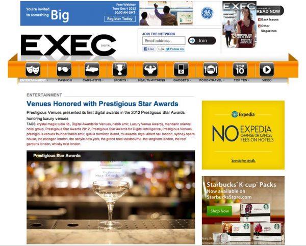Exec Digital, Prestigious Star Awards 2012, Press Coverage