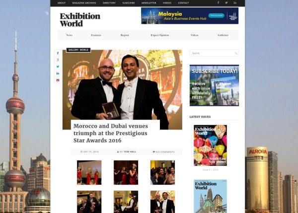 Exhibition World, Morocco and Dubai venues triumph at the Prestigious Star Awards 2016, Press Coverage