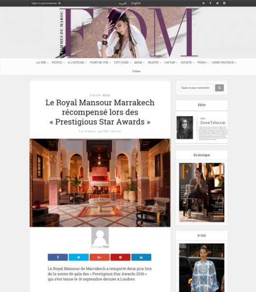 FDM, Le Royal Mansour Marrakech récompensé lors des Prestigious Star Awards, Press Coverage