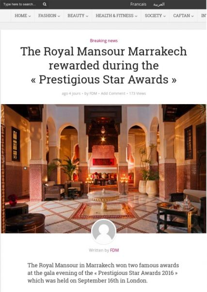 FDM, The Royal Mansour Marrakech rewarded during the Prestigious Star Awards, Press Coverage