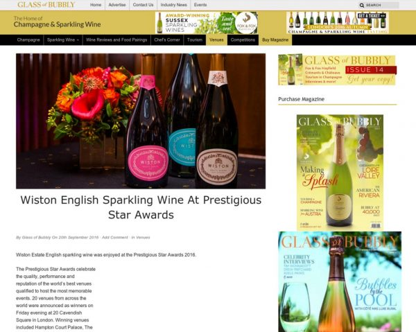 Glass of Bubbly, Wiston English Sparkling Wine at Prestigious Star Awards, Press Coverage