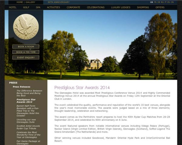 Gleneagles, Prestigious Star Awards 2014, Press Coverage