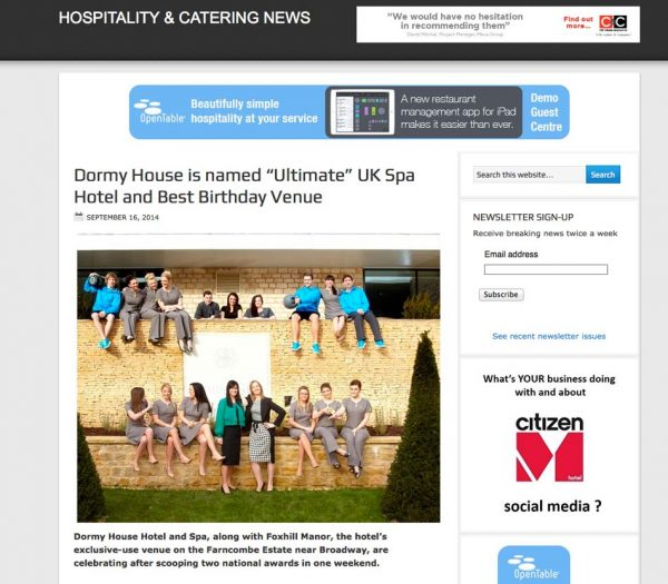 Hospitality & Catering News, Prestigious Star Awards 2014, Press Coverage