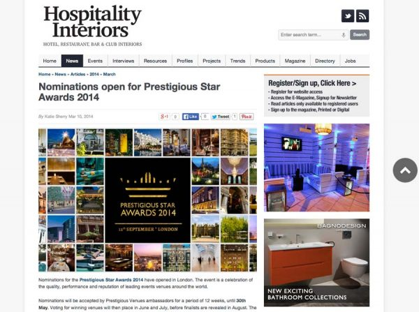 Hospitality Interiors, Prestigious Star Awards 2014, Press Coverage