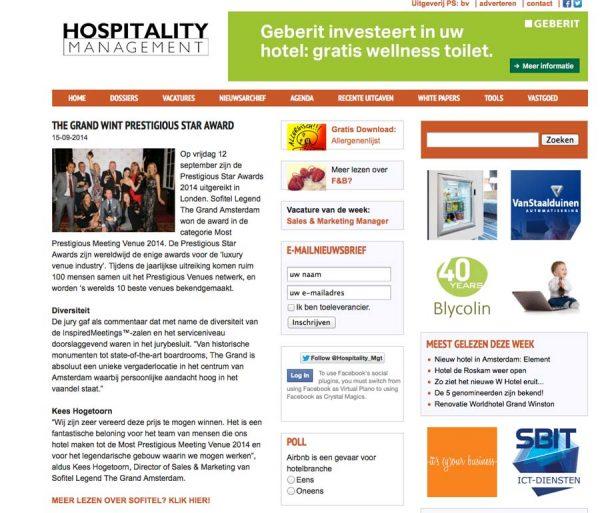 Hospitality Management, Prestigious Star Awards 2014, Press Coverage