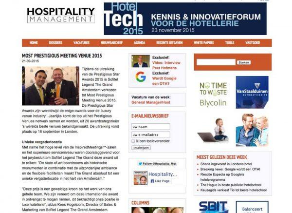 Hospitality Management, Prestigious Star Awards 2015, Press Coverage