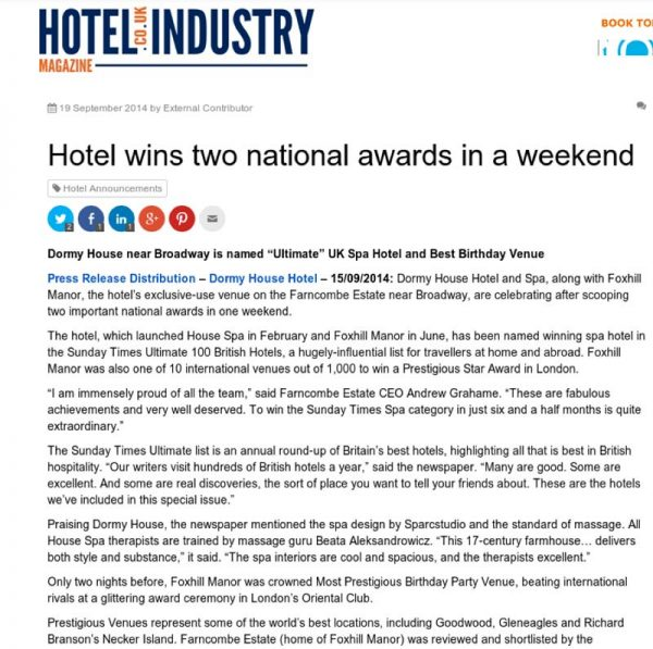 Hotel Industry Magazine, Prestigious Star Awards 2014, Press Coverage
