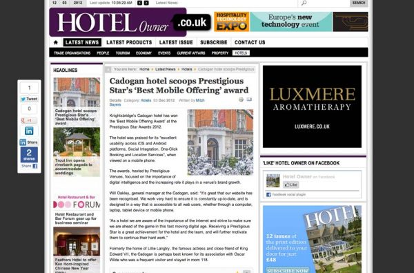 Hotel Owner, Prestigious Star Awards 2012, Press Coverage