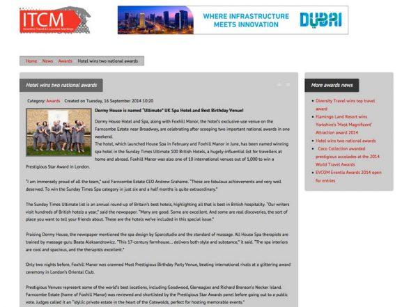 ITCM, Prestigious Star Awards 2014, Press Coverage