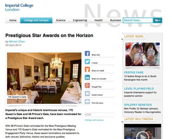 Imperial College London, Prestigious Star Awards 2014, Press Coverage