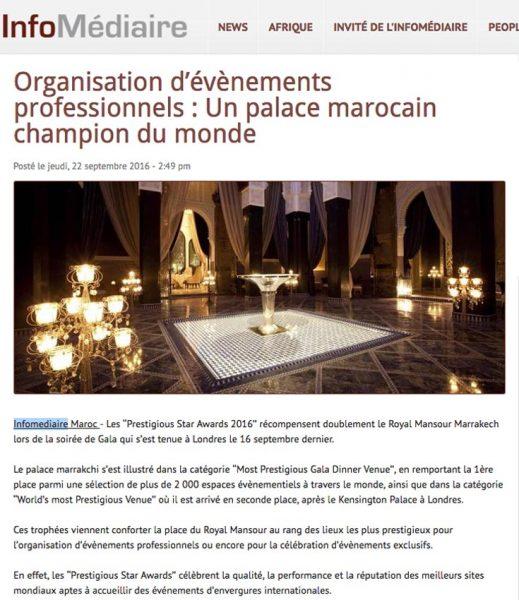 Info Mediaire, Royal Mansour, Prestigious star Awards 2016