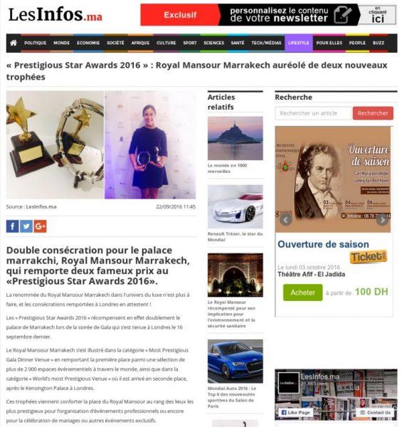 Les Infos.Ma, Royal Mansour Marrakech auréolé de deux nouveaux trophées, Press Coverage Prestigious Star Awards 2016
