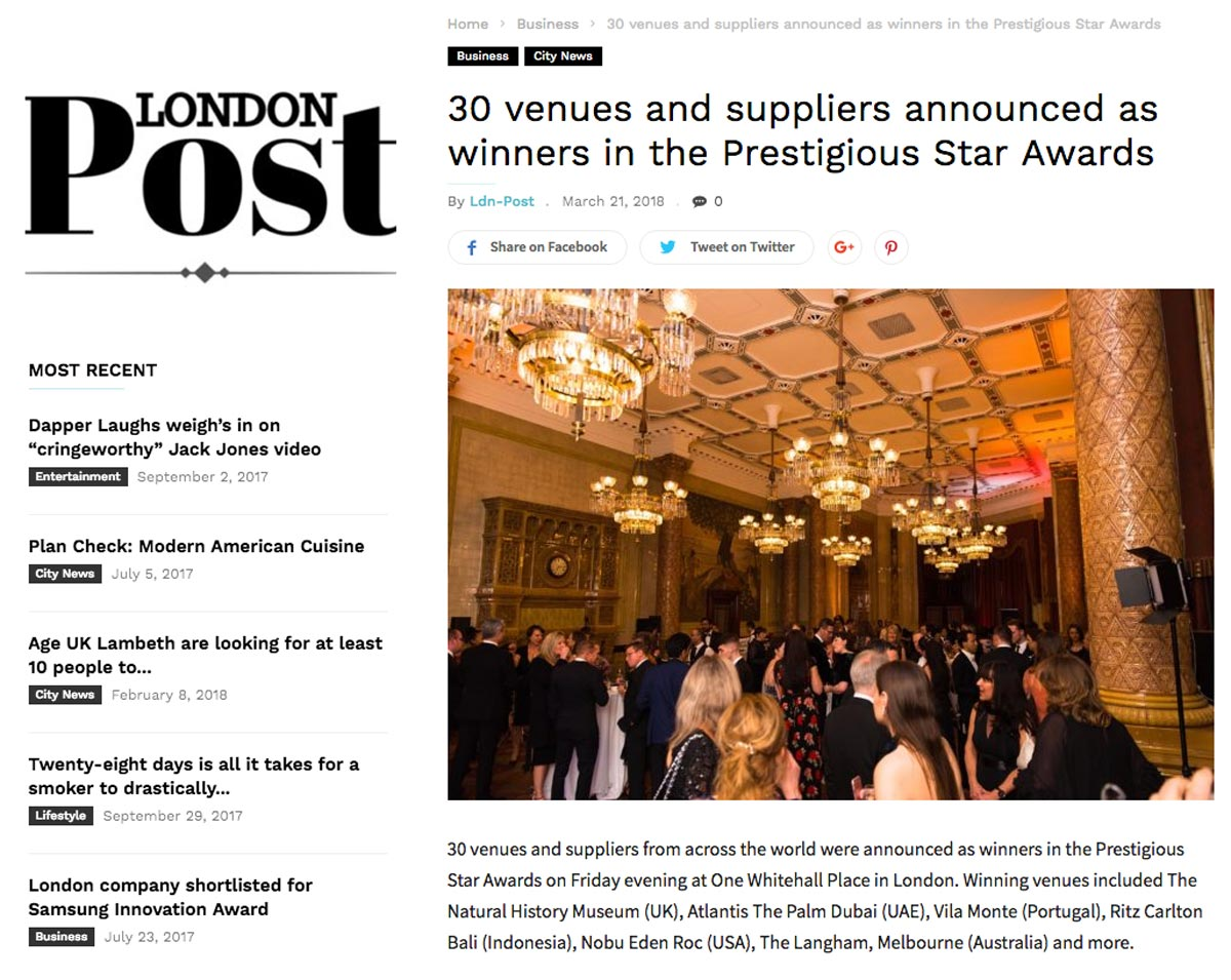London Post, Prestigious Star Awards 2017 2018