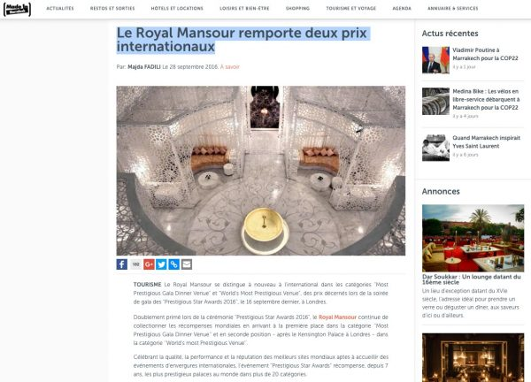 Made in Marrakech, Le Royal Mansour remporte deux prix internationaux, Prestigious Star Awards 2016