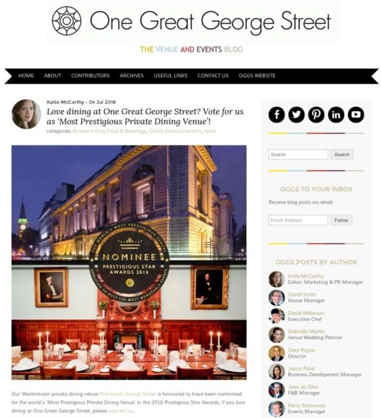 One Great George Street, Prestigious Awards 2016, Press Coverage