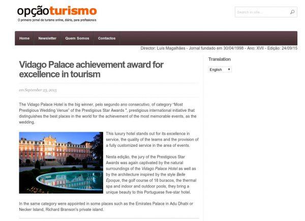 Opcao Turismo, Prestigious Star Awards 2015, Press Coverage