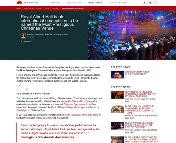 Royal Albert Hall beats international competition, Press Coverage Prestigious Star Awards 2016