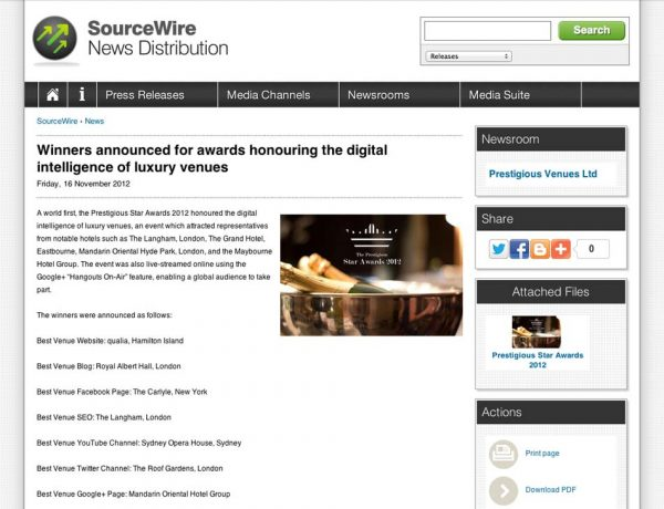 Sourcewire, Prestigious Star Awards 2012, Press Coverage