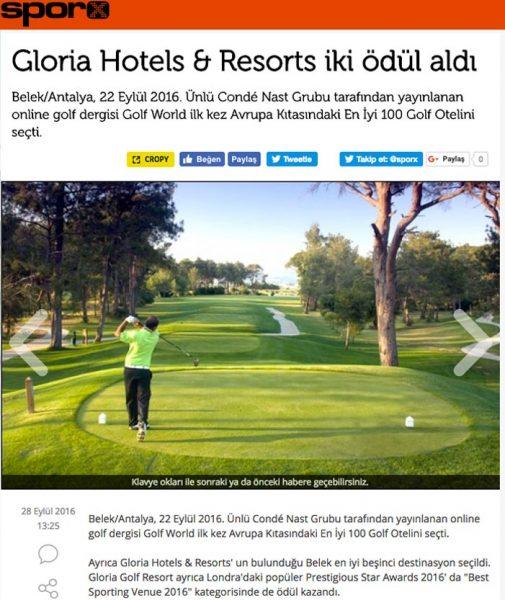 Sporx, Gloria Hotels Resorts iki ödül aldı, Prestigious Star Awards 2016, Press Coverage