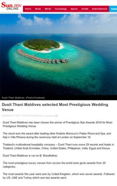 Sun.MV, Dusit Thani Maldives selected as Most Prestigious Wedding Venue, Prestigious Star Awards, Pres Coverage