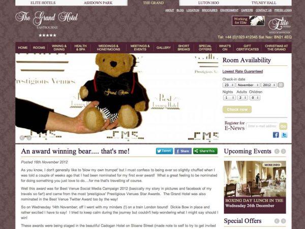 The Grand Hotel Eastbourne, Prestigious Star Awards 2012, Press Coverage