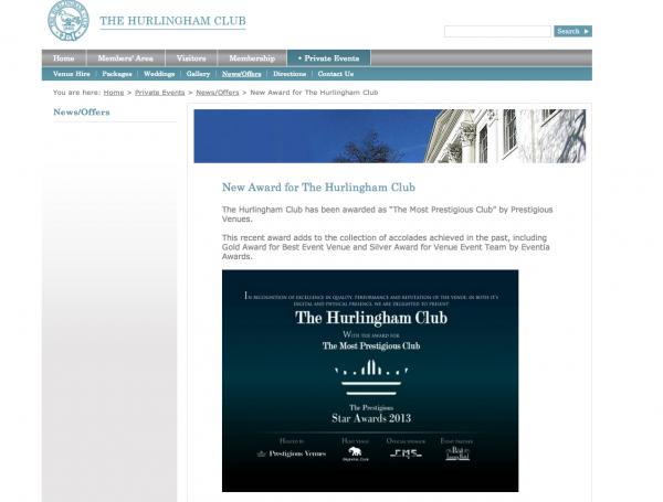 The Hurlingham Club, Prestigious Star Awards 2013, Press Coverage