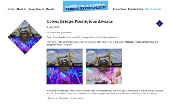 Tower Bridge Events, Prestigious Star Awards 2015, Press Coverage