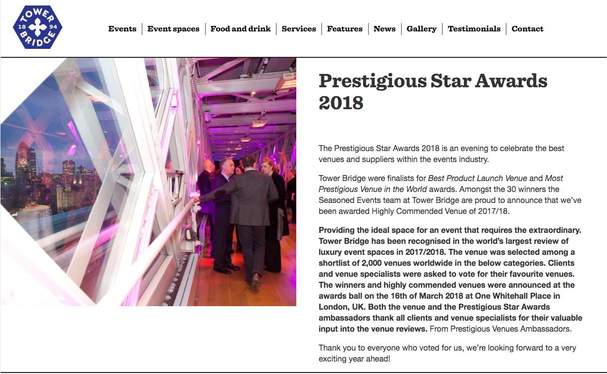 Tower Bridge Events, Prestigious Star Awards 2017 2018