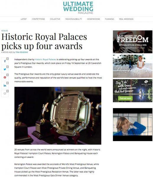 Ultimate Wedding Magazine, Historic Royal Palaces picks up four awards, Press Coverage Prestigious Star Awards 2016