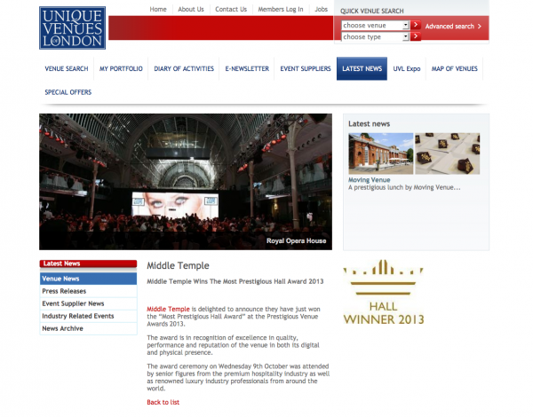 Unique Venues of London, Prestigious Star Awards 2013, Press Coverage