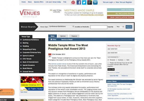 Venues.org.uk, Prestigious Star Awards 2013, Press Coverage