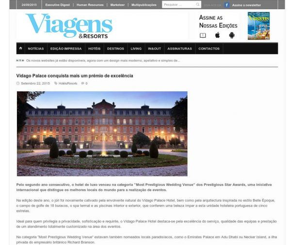 Viagens & Resorts, Prestigious Star Awards 2015, Press Coverage