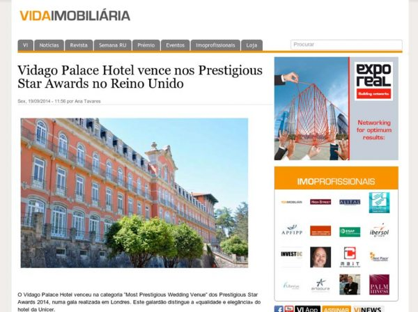 Vida Imobilaria, Prestigious Star Awards 2014, Press Coverage