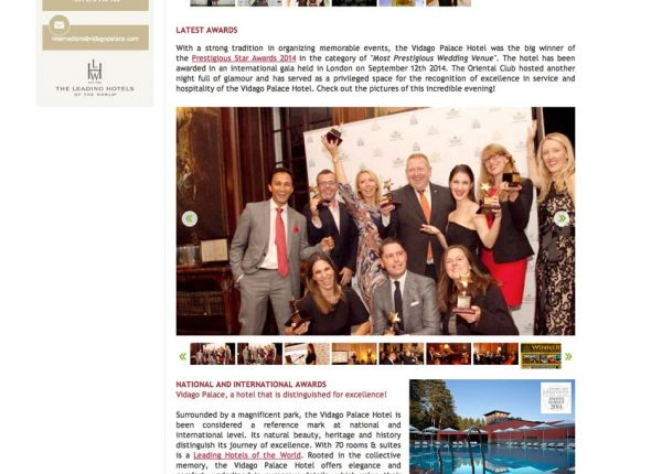 Vidago Palace, Prestigious Star Awards 2014, Press Coverage
