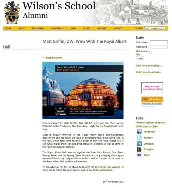 Wilsons School Alumni, Prestigious Star Awards 2012, Press Coverage