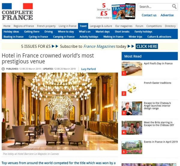 Hotel Barriere Le Majestic in Cannes, Complete France, Prestigious Star Awards 2019, Press Coverage